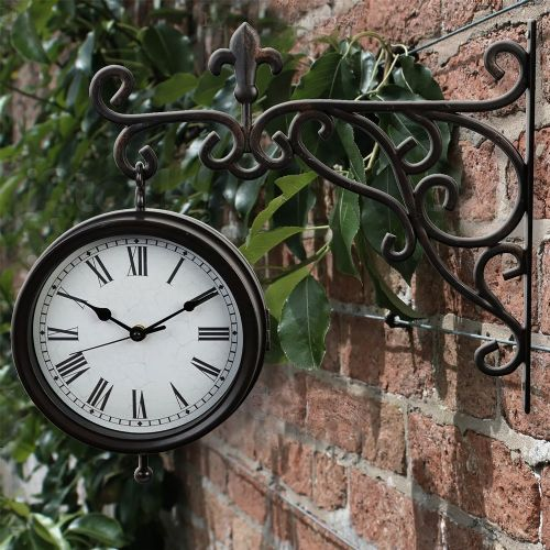 Hanging Station Clock On Wall Mounted Bracket Suitable for Home and Garden